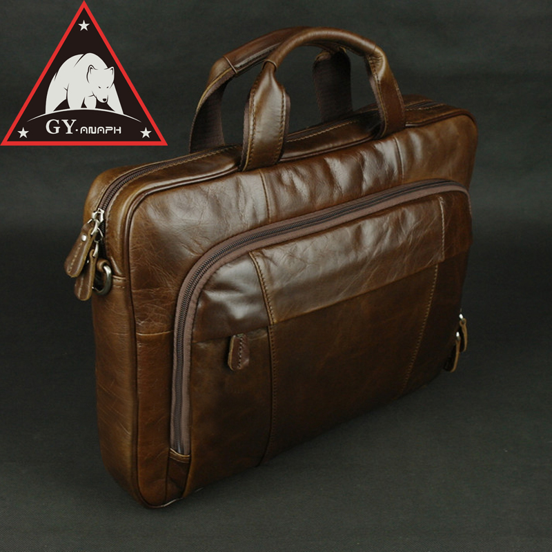 ANAPH Luxury Work Bags Man Genuine Leather 15 Inch Laptop Bag Men's Business Briefcases Casual Tote Bag Men Coffee High Quality new p kuone famous brands briefcases men luxury genuine cow leather 13 inch laptop bag high quality handbags business travel bag