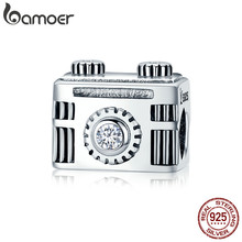 BAMOER Original 925 Sterling Silver Sentimental Snapshots Camera Charm Fit Bracelet & Necklace Black Enamel DIY Jewelry SCC516