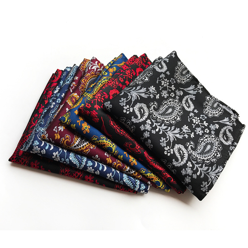 Men Polka Dot Handkerchief  Paisley Flower Pocket Squares Suit Kerchief Silk Adult Napkin Men Pocket Square  Silk Handkerchief