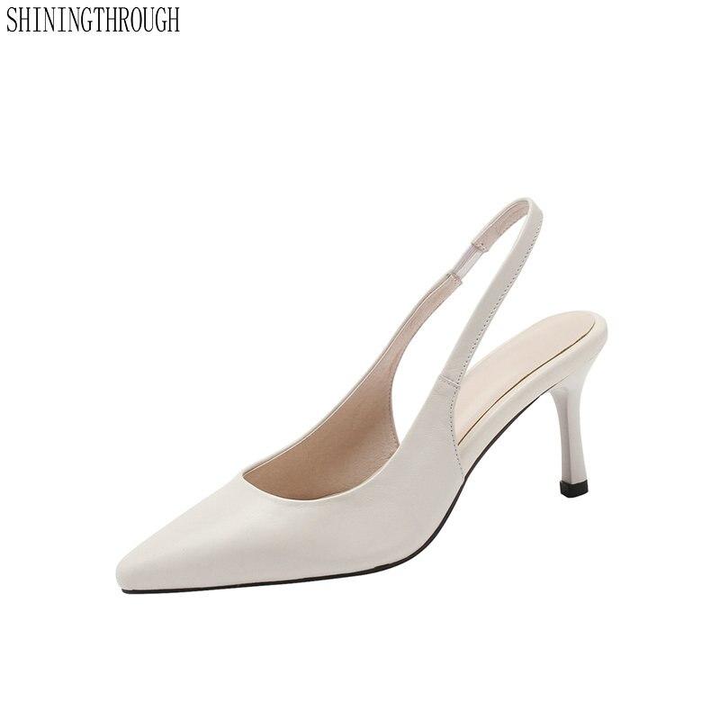 100% kuh leder Frauen high heels schuhe poined kappe frauen sandalen pumps kleid schuhe frau große größe 41 42 43-in Hohe Absätze aus Schuhe bei  Gruppe 1