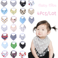 Cute !! 4pcs/lot 2016 New Baby bibs burp cloths bandana bibs baby bandana Infant Boy Girl Waterproof Dribble Bibs Bandanas