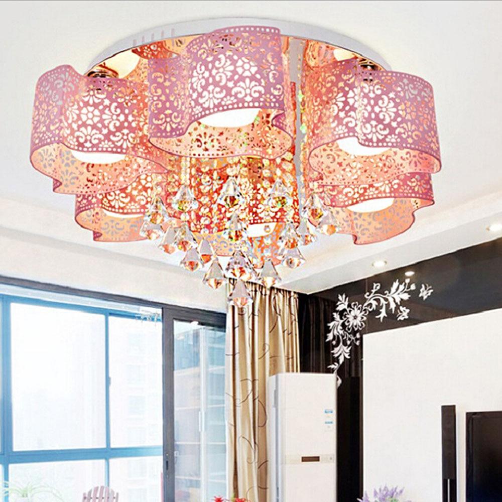 Modern Children Modern Crystal Ceiling Lamp Led Flush Mount Bedroom Lighting Living Room 110V 220V E27