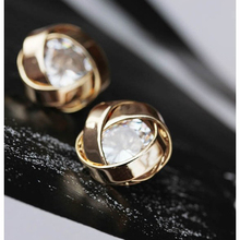 Elegant Twist Style Earrings Convolve Flower Earrings With Crystal Rhinestone Women's Outdoor Decorative Favors je506