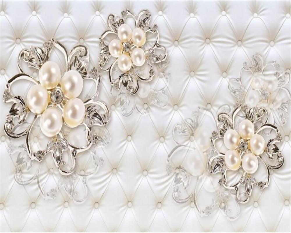 Купить с кэшбэком Beibehang Custom wallpaper home decor soft pack faux leather pearl flower TV mural 3 D living room bedroom murals 3d wallpaper