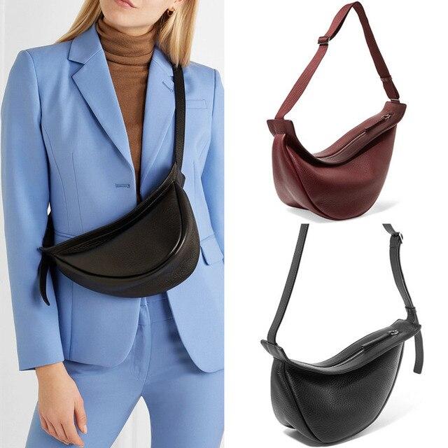 [Super Seabob] 2020 Spring Woman New Wine Red Black Color Wide Single Strap Zipper Half Moon PU Leather Chestbag All Match LI812 4