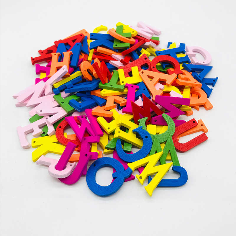 26 pcs 1 ชุด 26 ตัวอักษรภาษาอังกฤษตัวอักษรหมายเลขไม้ไม้ตกแต่งในครัวเรือนศิลปะหัตถกรรมจดหมายดิจิตอลจอแสดงผล