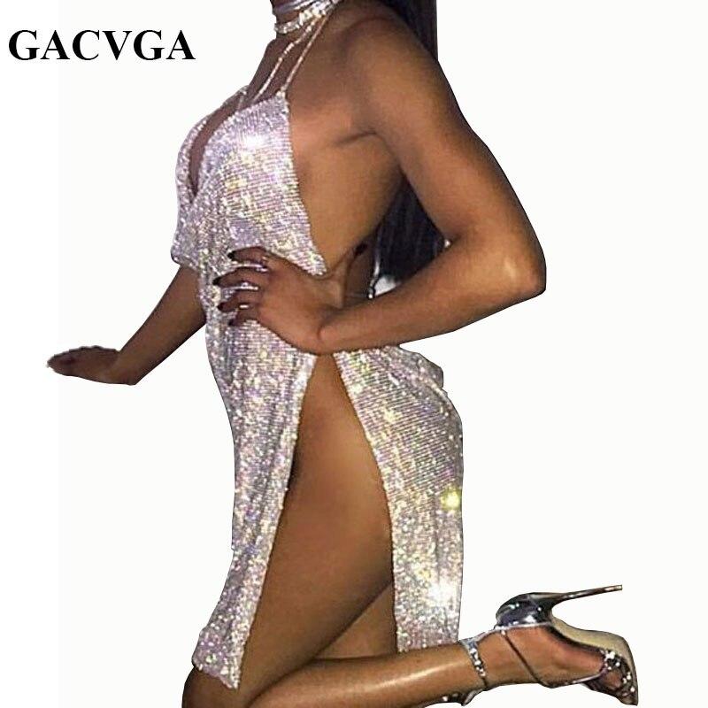 Gacvga 2018 cristal de diamante de verano rendijas vestido partido atractivo Vestidos mujeres Halter vintage playa vestido