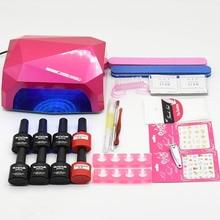 Nail art set Manicure Tool 6 Color (120 colors) soak off uv Gel base top coat nail polish varnish Remover Practice set File kit