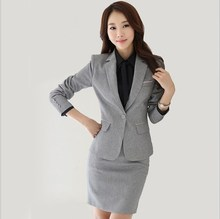 Women Office Uniform Skirt Suit Slim Fit Work Skirt Suits Black Grey Skirt Blazer Outfits Womens 2 Two Piece Skirt Sets