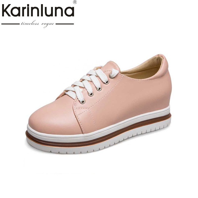 KARINLUNA Bordered Women Flats Vintage Lace Up Thick Platform Shoes 2017 Brand Woman Leisure Loafers Spring Brogue Shoes phyanic creepers 2017 leisure lace up silver platform shoes woman loafers fashion flats women brogue shoes 3 colors xdy4257