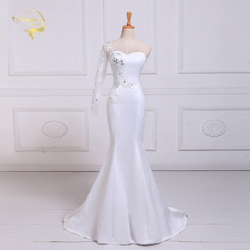 Jeanne amour coeur dentelle avec diamant sirène robes De mariée 2019 une manches Robe De Mariage JLOV75980 Vestido De Noiva Trouwjurk