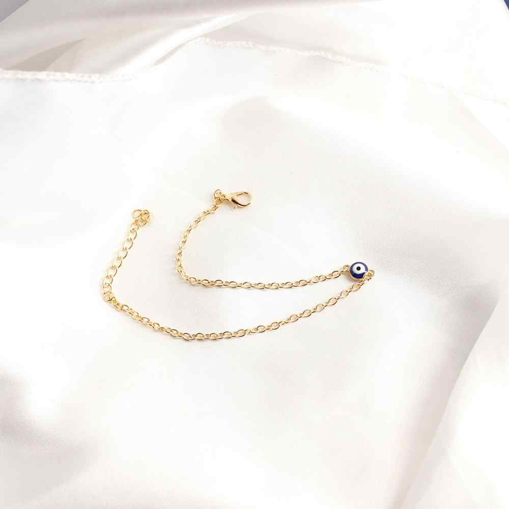 Простые Модные круглые Турции по низкой цене Для женщин синий Лаки с клипсами Дурной глаз Цыганский Браслет вечерние стопы золотая, серебряная цепочка Ссылка ювелирные изделия