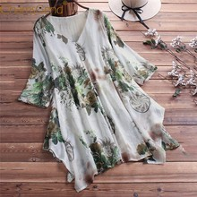 Lady V Neck Loose Blouse Women Summer Leaf Print Comfortable Linen Half Sleeve Plus Size shirt M/XL/2XL/3XL/4XL/5XL 90417(China)