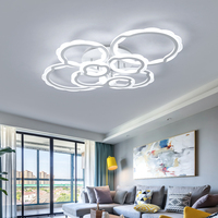 New Ring Shaped White Finish Chandelier LED Round Modern Chandelier Lamp Living Room Acrylic Lampara De