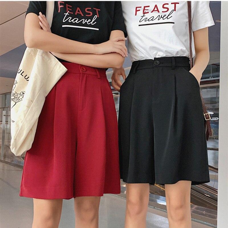 Real shot women's 5   pants   2019 new summer fashion high waist   wide     leg     pants   straight loose loose thin large five   pants   S-3XL