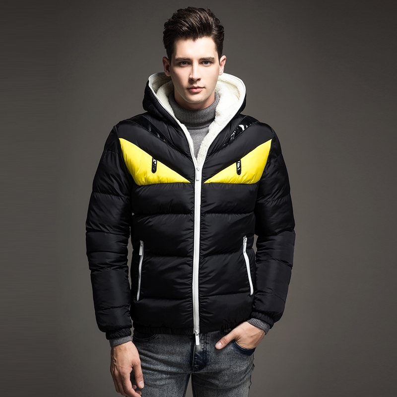 2018 New Fashion Design Men's Winter Jacket Big Eye Contrast Cotton padded Parka Puffer Hooded Coat Veste Homme Hiver - 2