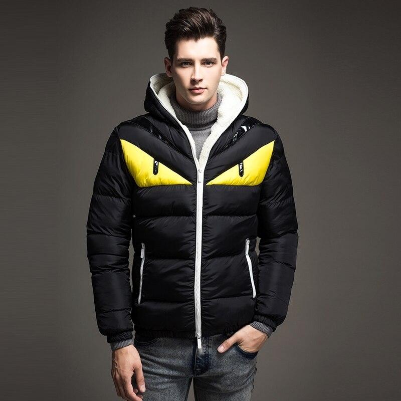 2018 nouveau Design de mode hommes Veste d'hiver grand oeil contraste coton rembourré Parka bouffante à capuche manteau Veste Homme Hiver - 2
