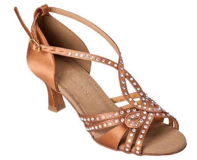 Brown Samba Rhinestone Latin Dance Shoes Women & Girls Satin Dance Legend Ladies Shoes Ballroom Shoes with Soft Outsole dance legend top aquarelle цвет 3 chagall