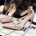 She era 2017 europa sexy stiletto tacones altos zapatos de las mujeres hueco Profundo Boca Bombas Damas Schoenen Mujer Zapatos de Gamuza Scarpe Donna