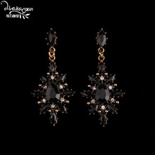 Dvacaman Brand 2017 Boho Black Rhinestone Flower Drop Earrings Women Vintage Maxi Hanging Earrings Jewelry Friend