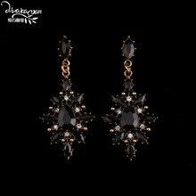 Dvacaman Brand 2017 Fashion Gun Black Flower Drop Earrings Women Vintage Gold Plated Maxi Hanging Earrings