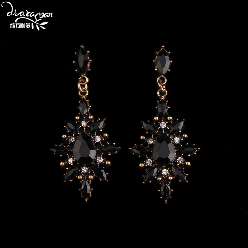 Dvacaman Brand 2017 Fashion Gun Black Flower Drop font b Earrings b font Women Vintage Gold