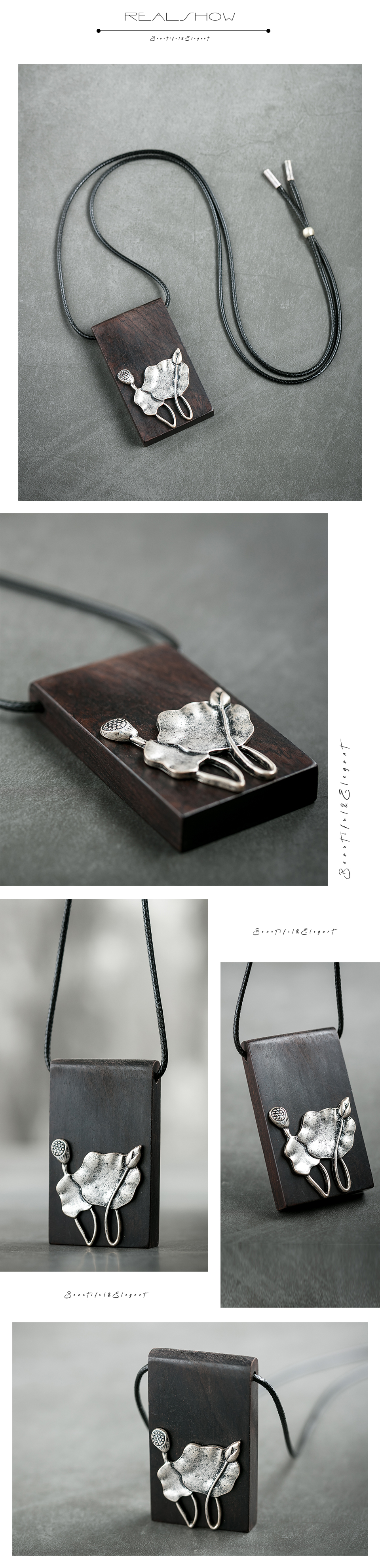 Mosaic Lotus Necklace Wood Pendant&Necklaces for Female Handmade Fashion Vintage Pendant Sweater Rope Chain Jewelry