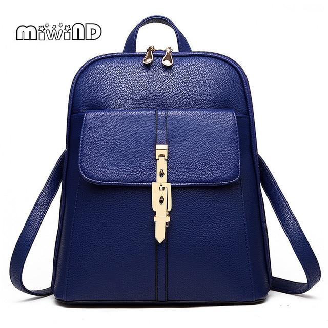 MIWIND Women Bag Hotsale Backpack Women Mochila Feminina Leather Backpack Free Shipping School Bags Candy Color Bagpack