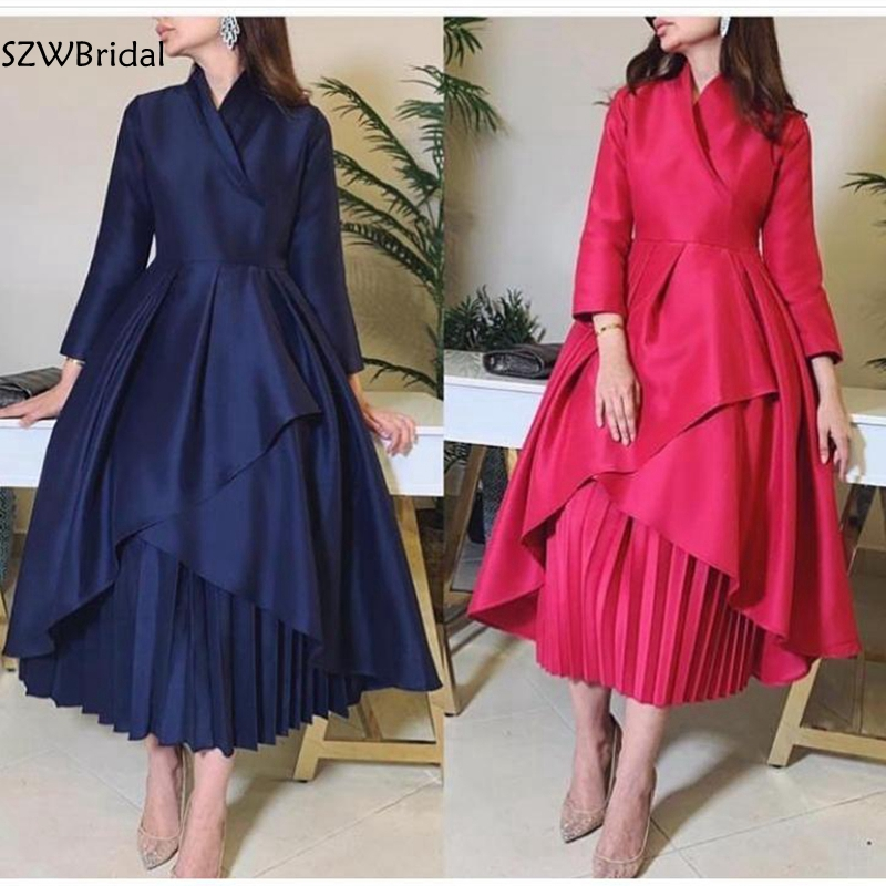 Image 1 - New Arrival High Neck Long sleeve evening dresses 2020 Abendkleider abiye Muslim evening dress Party evening gownEvening Dresses   -