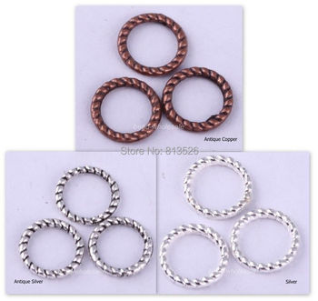 OMH wholesale 60Pcs Silver/Gold/Bronze/Copper Twist-Ring Charm Finding for Jewelry Making 8mm