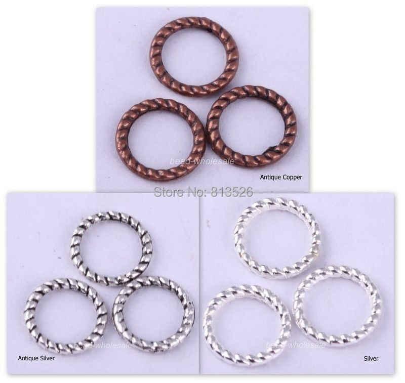 Omh grosir 60 Pcs perak / emas / perunggu / tembaga memutar - cincin pesona temuan untuk membuat perhiasan 8 mm