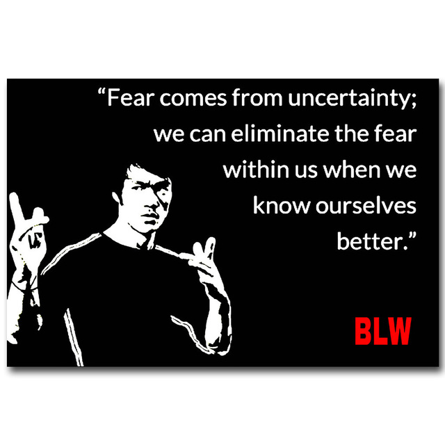nicoleshenting bruce lee motivational quote art silk poster 13x20 24x36inch black white picture for room wall