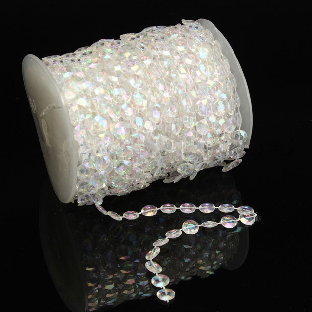 30 Meter/99 Füße Acryl 10mm Perlen AB Regenbogen Bunte Klarer Kristall  Garland Strands Für