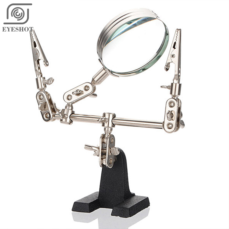 2016 New Third Hand Soldering Iron Stand Helping Clamp Vise Clip Tool Glass Jeweler Loupe Magnifying Glass