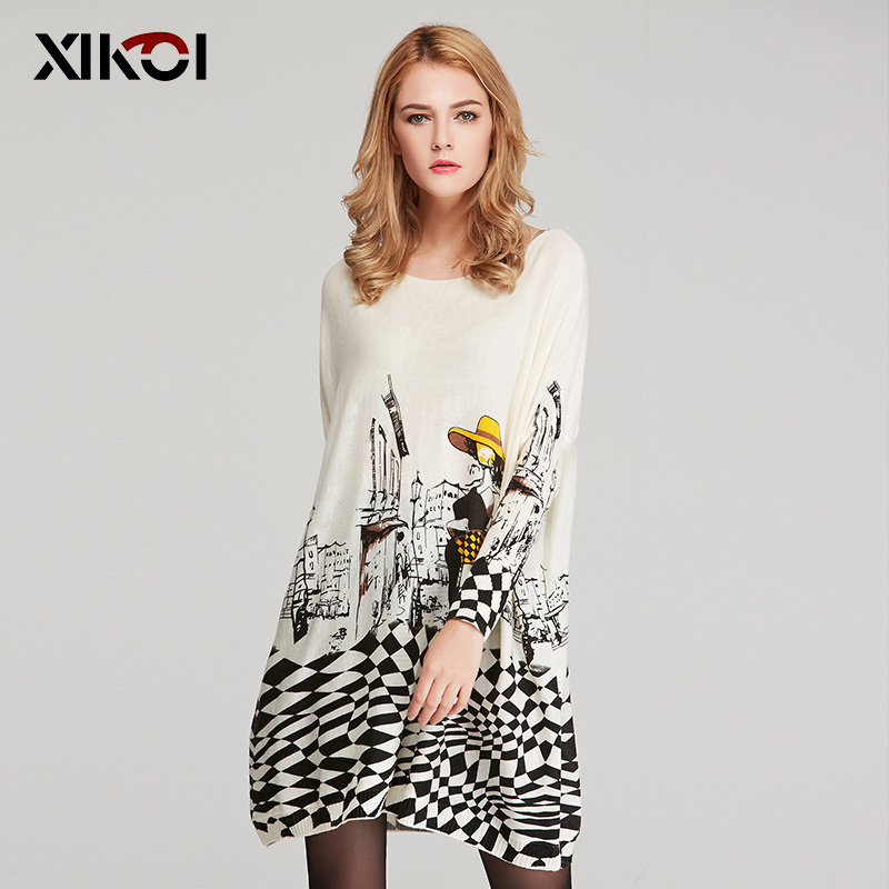 XIKOI 2019 Autumn Sexy Lady Print Women Sweater Oversized Dress Long Pull Femme Winter Pullovers Batwing Sleeve Clothes Clothing