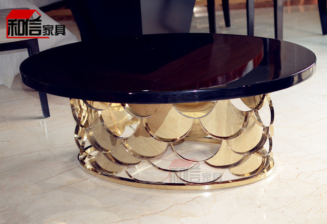 Gold Plated Stainless Steel Oval Coffee Table After The Hollow Metal Scales Round Marble