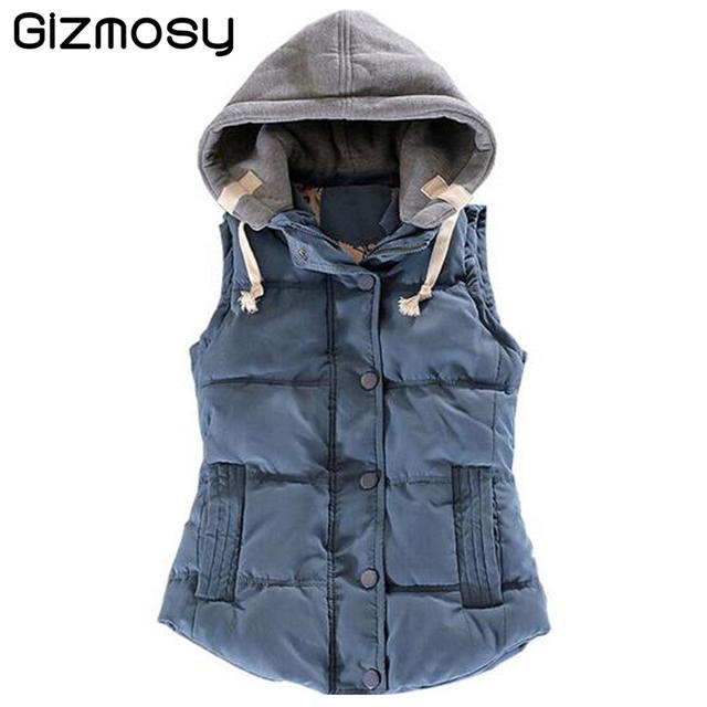 Mulheres Outono/Inverno Colarinho de Lã de Moda Colete Com Capuz Grosso Quente Para Baixo Algodão Colete Feminino Tamanho Grande Jacket & Casacos BN045BN