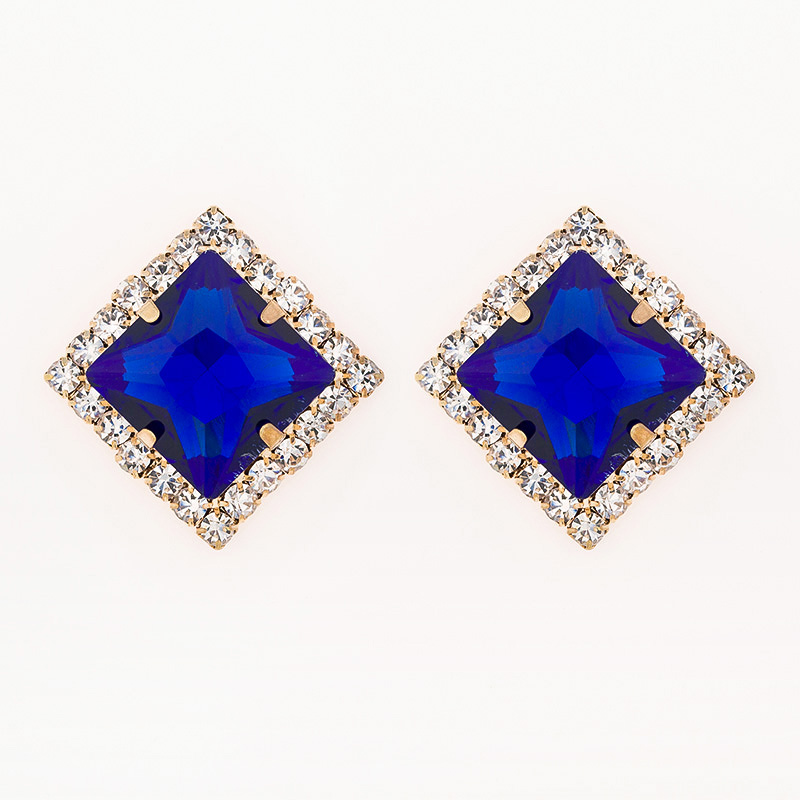 YFJEWE Fashion Big Blue Stone Stud Earrings For Women Occident Super Flash Crystal Earrings Yang Temperament Earrings #E050