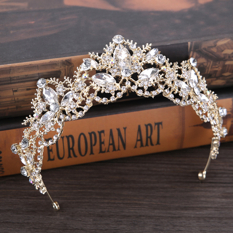 New Fashion Baroque Luxury Crystal AB Bridal Crown Tiaras Light Gold Diadem Tiaras for Women Bride Wedding Hair Accessories 7