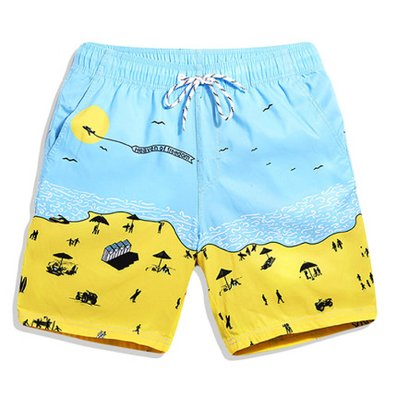 Men Swimwear Swimsuits Beach bright yellow   Board     Shorts   Boxer Trunks Sea Casual   Short   Bottoms Quick Drying Couples Pockets   Short
