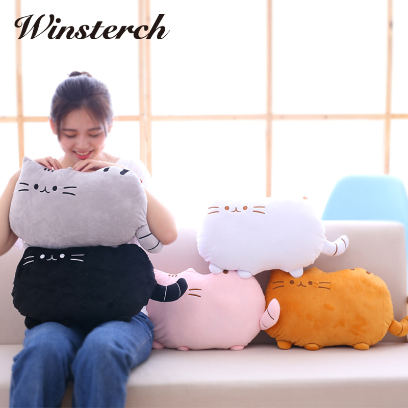 2017 Hot Arpa Pusheen Cat Stuffed Plush Toys Lovely Biscuits Tail Kitten Pillow 40*30cm Kawaii Brinquedos With PP Cotton WW210 2015 kawaii biscuits cats 40 30cm cute stuffed animal plush toys dolls pusheen shape pillow cushion for kid home decoration