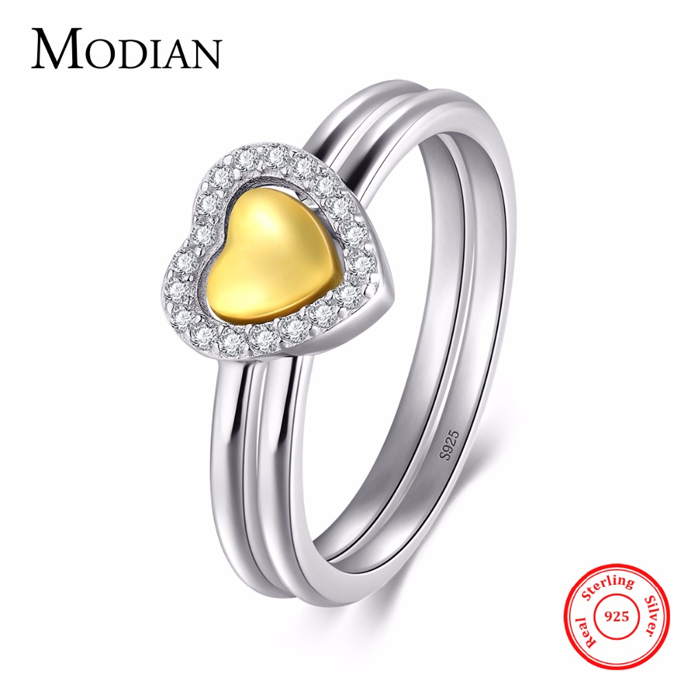 Modian 2017 New White & Gold Color Double Heart Forever Stackable Fashion CZ Finger Ring For Women Wedding Engagement Jewelry
