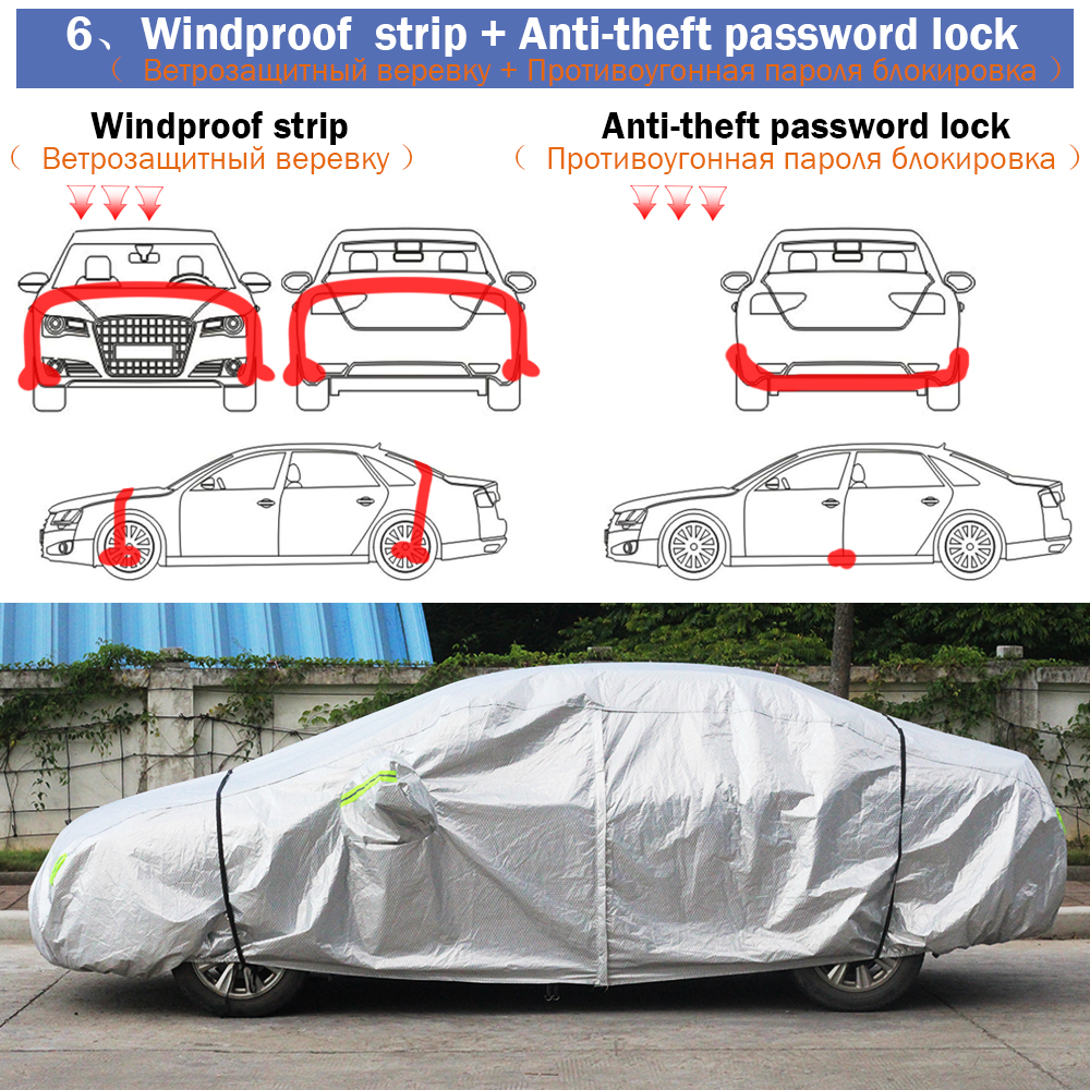 Cawanerl Three Layer Thick Car Cover Waterproof Anti UV Sun Rain Snow Hail Dust Protection Surface Aluminum Foil + Inner Cotton