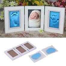 Moldura de fotos fofa para bebês, impressão de pé ou mão, conjunto diy, impressão manual, inkpad, argila macia, fundição, pai filho impressão digital da mão