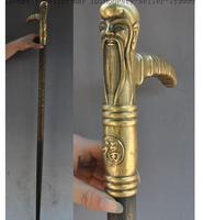 Grandpa Good Lucky Old Chinese Folk China brass brass Longevity god head dragon phoenix Crutches Walking stick cane