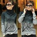 Das mulheres de lã de gola alta bordado camisolas padrão de árvore camiseta de malha Tops sml XL