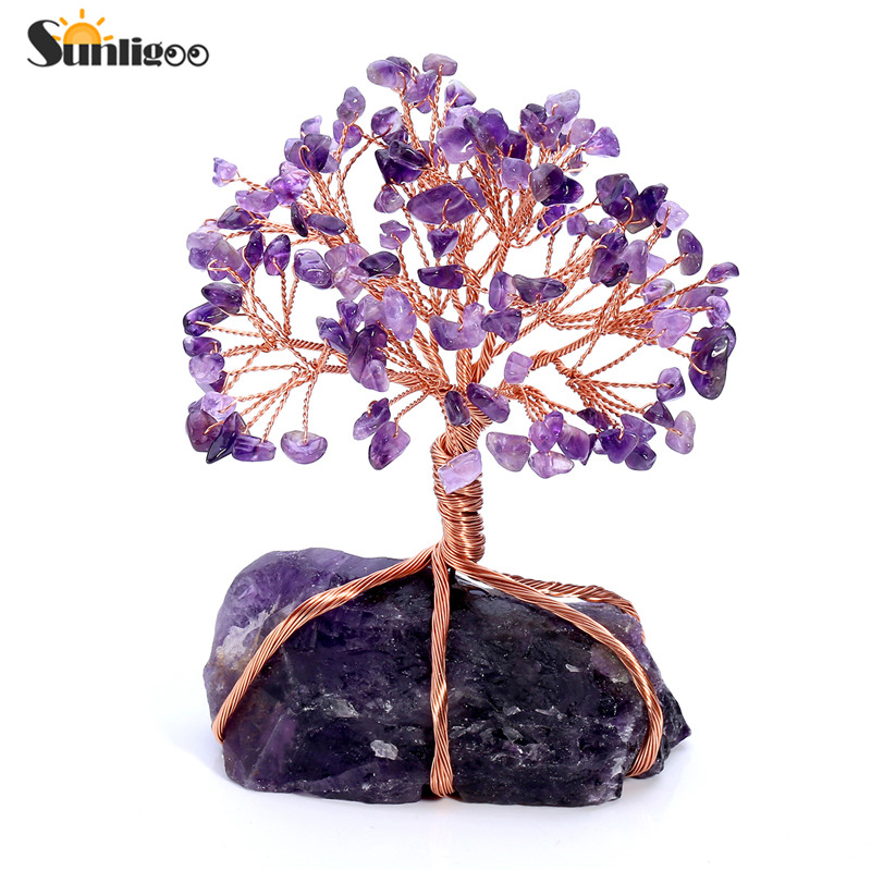 Sunligoo Natural Amethyst Tumbled Stones Money Tree Feng Shui Wealth Ornament Tree of Life Healing Crystals Reiki Office Living
