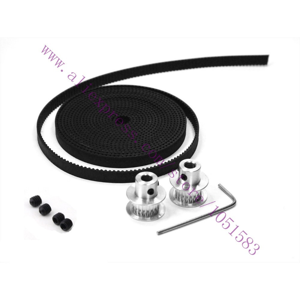 2pcs Gt2 36t 5 8 10mm Bore Optional Aluminum Pulleys 2m Cnc Timing Belts And Belt L Type Wrench For 3d Printer