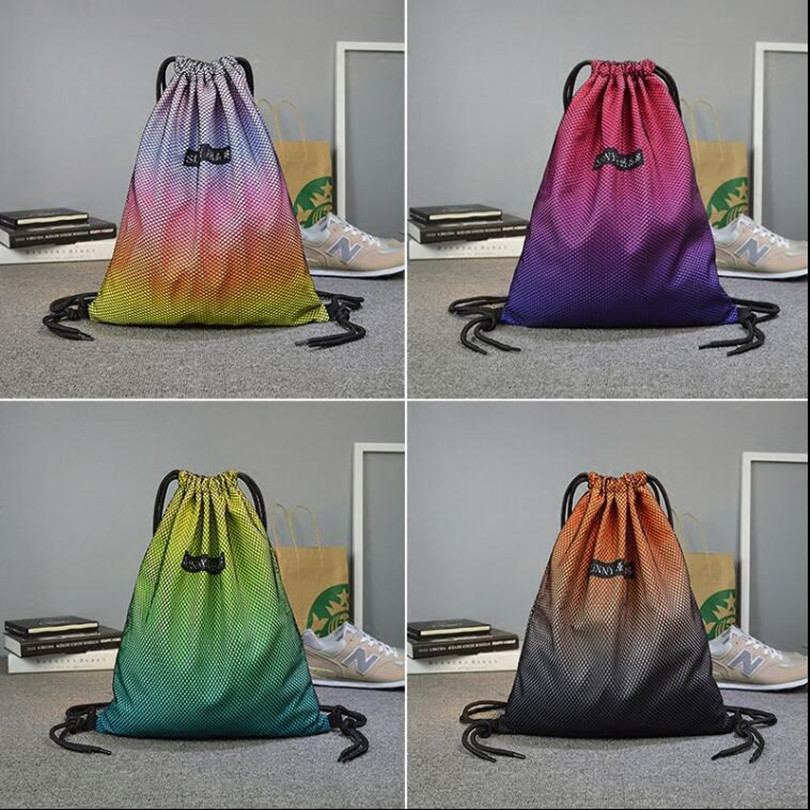 40*33cm Drawstring running Bags Water-Proof Nylon Traveling Backpack Multi Color Available With Net Laptop Bag Travel