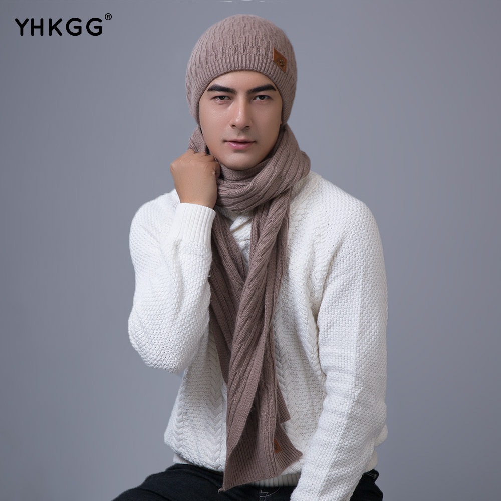 ФОТО 2016  YHKGG New Fashion Women And Man  Thick Warm Hat Scarf and  Set Winter Hats Scarfs Sets  Women's Hats